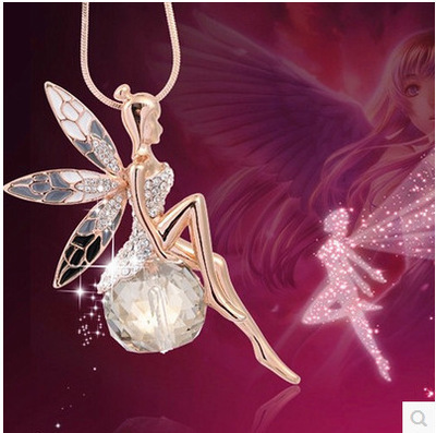 New Women Crystal Shiny Fairy Rhinestones Angel Wings Long Chain Party Pendant Necklace Sweater Chain Fashion Jewelry