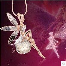 Новинка, женские хрустальные блестящие сказочные стразы, крылья ангела, длинная цепочка, вечерние ожерелья с кулоном, цепочка на свитер, модное ювелирное изделие