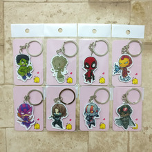 8PCS/lot Deadpool Ant-Man Keychain Fashion Jewelry Key Chains The Hulk The Avengers Custom made Movie Key Ring HS01