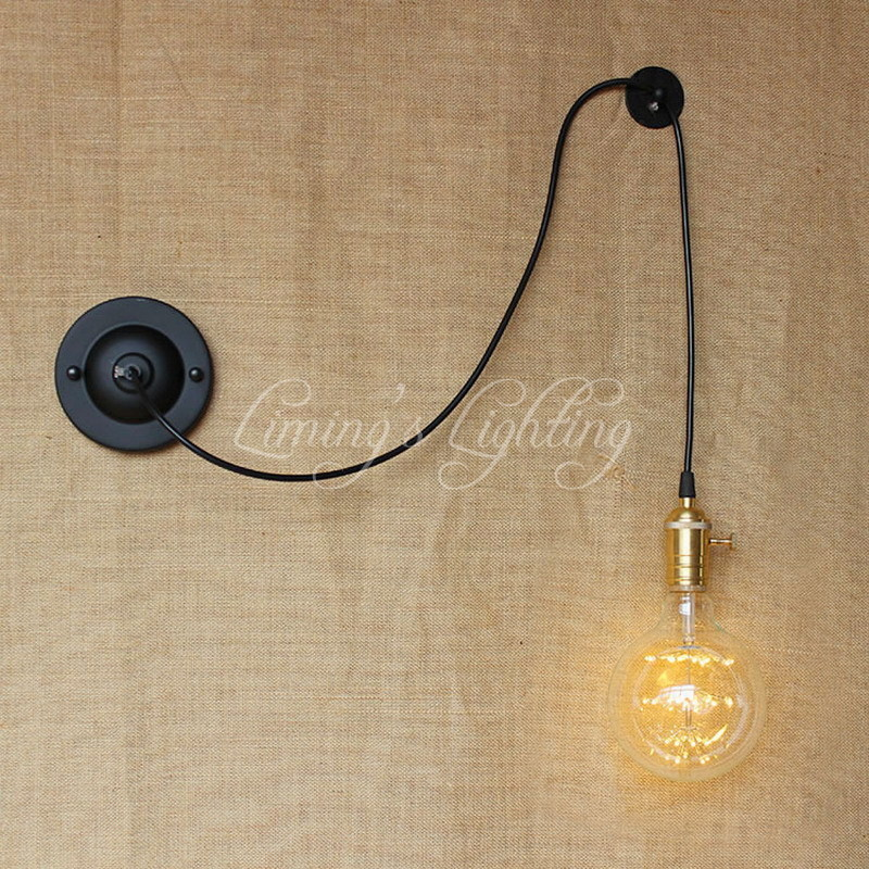 new design DIY antique retro black metal ball wall lamps E27/E26 AC 110V 220V for workroom bedside bedroom wall Lights