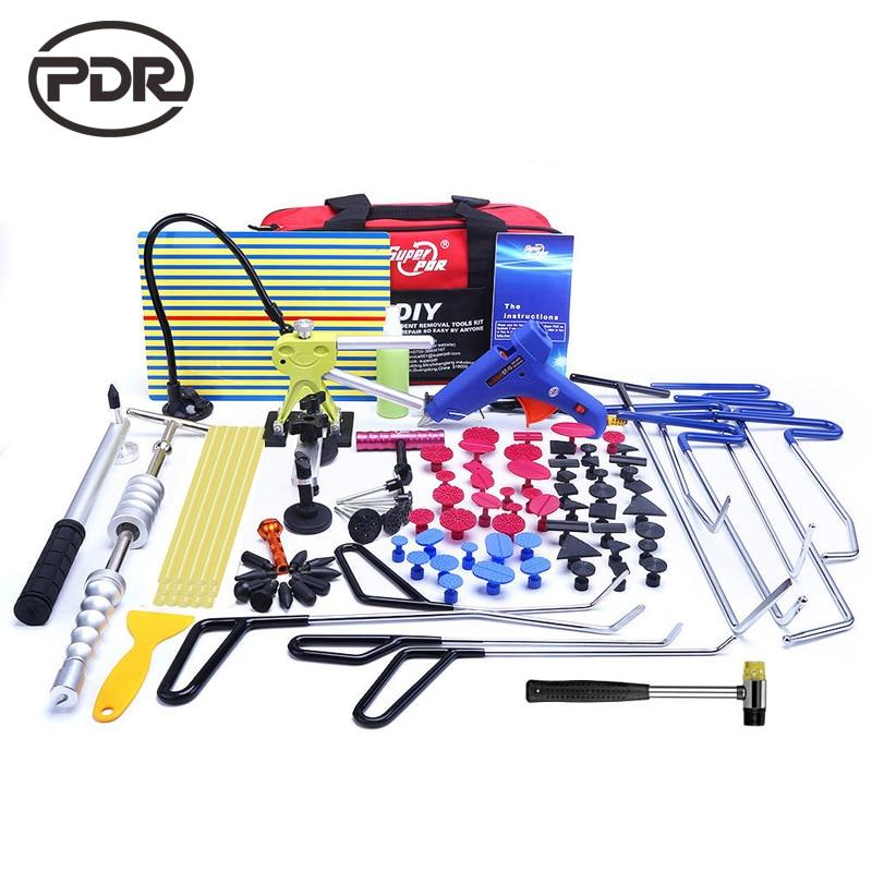 PDR Tools Hooks Stainless Steel Push Rods Dent Removal Car Body Dent Repair Reverse Hammer Paintless Dent Remover Crowbar Kit