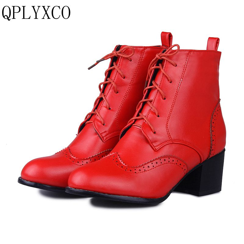 QPLYXCO New Snow Boots Big size 33-47 Winter shoes woman ankle boots for women Fashion Round Toe Lace up high heels shoes T5 new women sexy lace up knee high boots high square heels women boots winter snow boots casual shoes woman large size 34 46