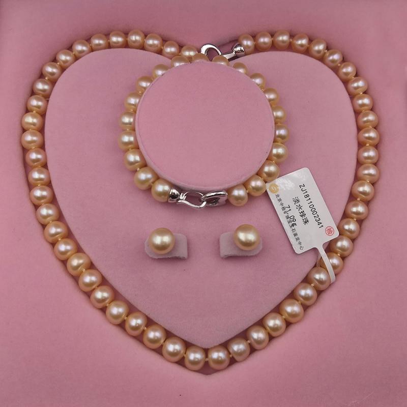 Sinya perles naturelles brin collier bracelet boucle d'oreille en ensemble via 925 fermoir en argent sterling peut bricolage porter pour maman femmes amant