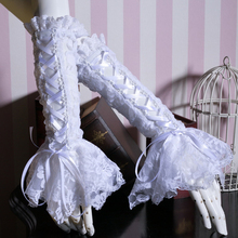 2017 Fashion Gothic Punk Classic Women Elegant Long Lace Gloves Steampunk Black And White Hollow Out Lace-Up Gloves