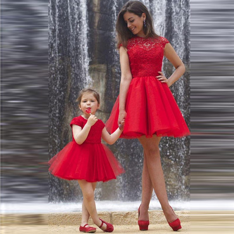 2017 Girls Princess Dress Red short Mother Kids Mother Daughter Dresses for Wedding Party Girl Dress Children's Bridesmaid