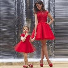 2017 Girls Princess Dress Red short Mother Kids Mot