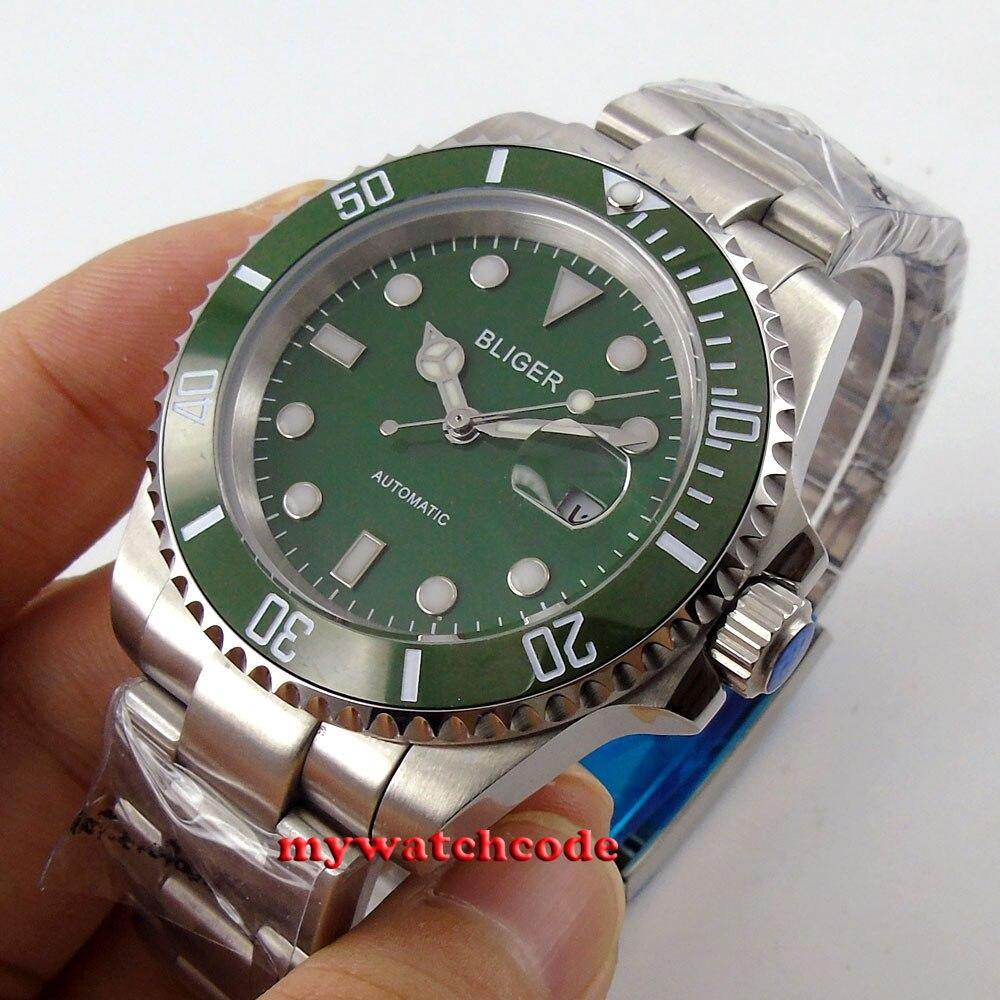 Uhren Uhr 40mm Grün Sterile Leucht Zifferblatt Sapphire Kristall Keramik Lünette Datum Miyota 8215 Automatische Bewegung Herren Uhr Herrenuhren