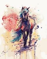 ציור ללא מסגרת על ידי מספרי צבע לפי מספר לעיצוב בית PBN לסלון 4050 סוס צבעוני