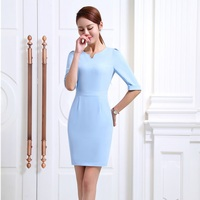 Fashion Women Summer Dresses Light Blue Half Sleeve Office Ladies Dress Female