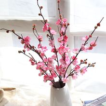 Artificial Flower Silk Single Plum Blossom Chinese Style Cherry Wedding Home Decoration Wall Rose Photography