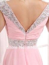 Großhandel-2014 New Fashion Straps A-linie Sleeveless bodenlangen Mit Reißverschluss Back Design Chiffon Rosa Abendkleider
