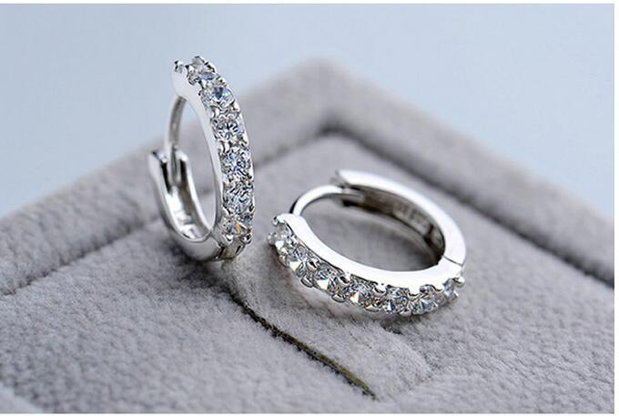 925 Sterling Silver Hypoallergenic Earrings Zircon Stud Earring for Women Girl Simple Jewelry Brincos Joyas De Plata 925 EH056 3
