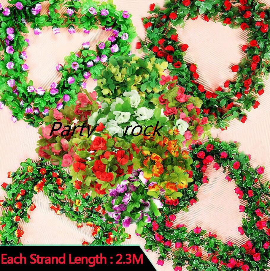 Outdoor decor discount - 2 3m 7 5ft Artificial Rose Flower Ivy Vine Leaf Garland Romantic Wedding Party Home Decor Christmas Indoor Outdoor Decorations In Pendant Drop Ornaments