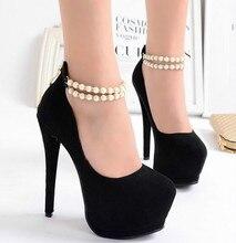 2016 frühling sexy perlen runde sexy high heels 15 cm hohe wasserdichte Taiwan super high heels fein mit singles schuhe