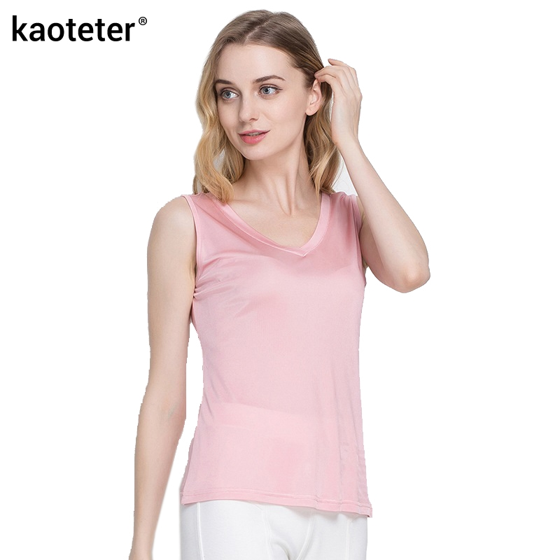 100% Pure Silk Tank Tops Mujer Femme Blusa Casual Mujeres Sin Mangas - Ropa de mujer