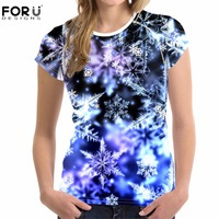FORUDESIGNS Women T Shirt Summer O Neck Short Sleeve Snowflake Printed Floral Tops Tees Teens Girls