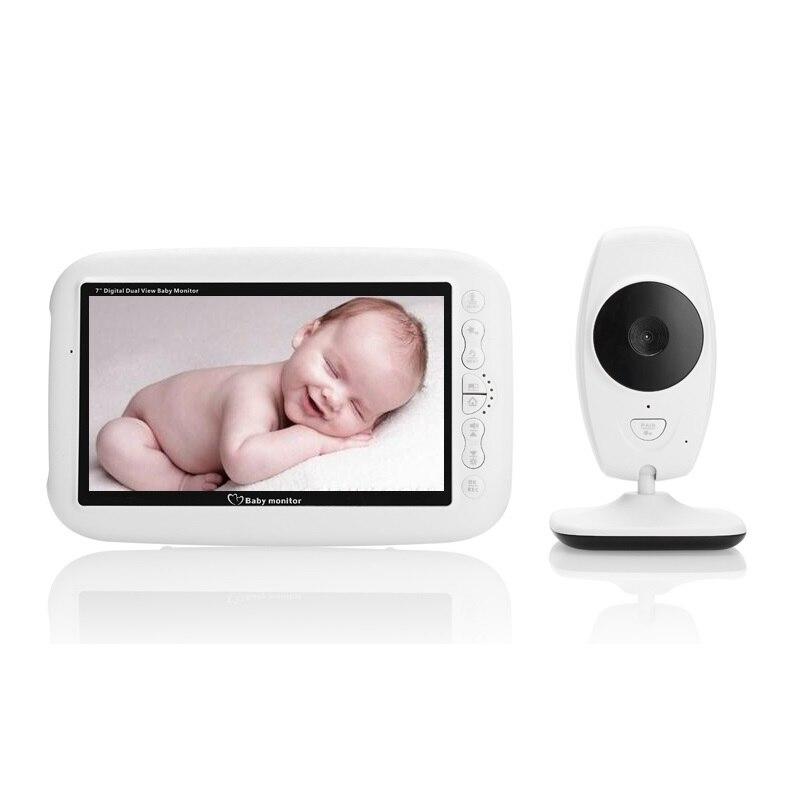 Fetal Doppler baby monitor 7.0 inch LCD IR Night vision Intercom 4 Lullabies Temperature monitor baba electronics detector fetal portable 5 7 color lcd fetal maternal monitor fetal monitor twins monitor bfm 700