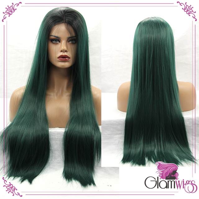 Long Straight Ombre Green Dark Root Synthetic Lace Front Wigs South Afric Women Wigs with Baby Hair Glueless Lace Wigs