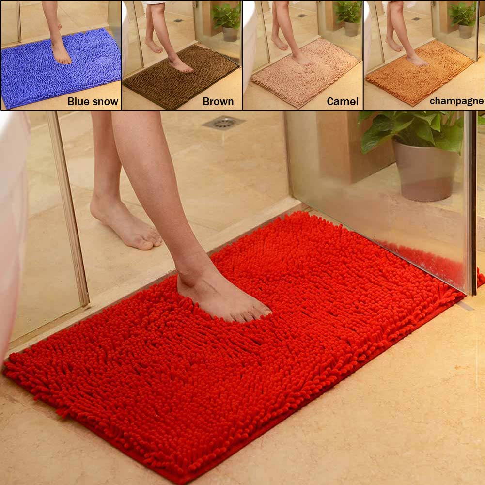 Bright red bathroom rugs - Microfiber Chenille Soft Absorbent Non Slip 40cmx60cm Carpet Bath Mat Bedroom Rug Pad Blue Snow