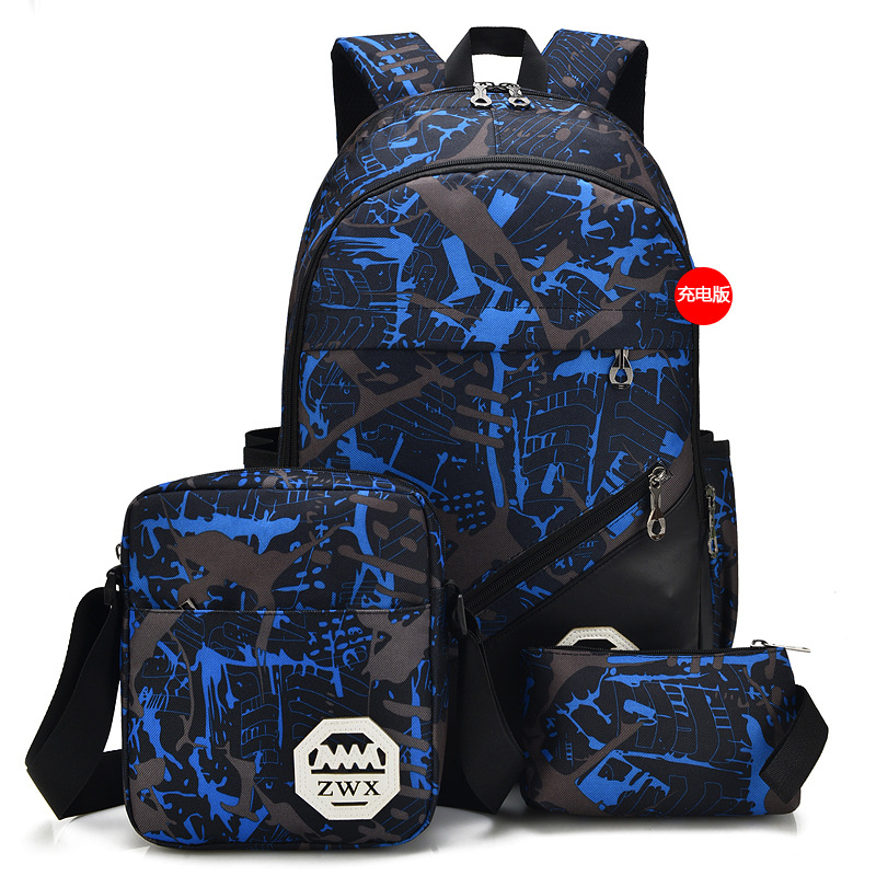 preppy stylish student backpack for teenager travel backpack large laptop mochila boys 3sets leisure daypacks new 2018 fashion in Backpacks from Luggage Bags