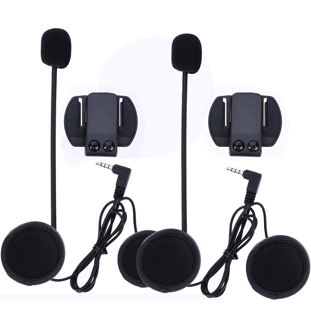 2PCS Official 3.5MM Wired Microphone & Universal Helmet Clamp For VNETPHONE V4 V6 JEAS V6 Pro Motorcycle Intercoms