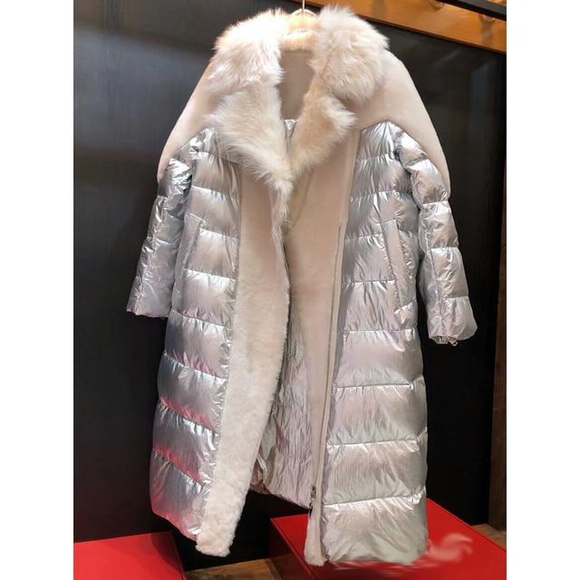 New Shearling Duck Down Fur Coat Women Long Warm Fur Clothing Golden Short Duck Down Jacket Women Winter Fur Outwear