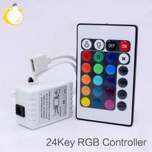 24 キー led rgb コントローラ DC12V ir リモートコントローラ smd 3528 5050 rgb led ストリップライト