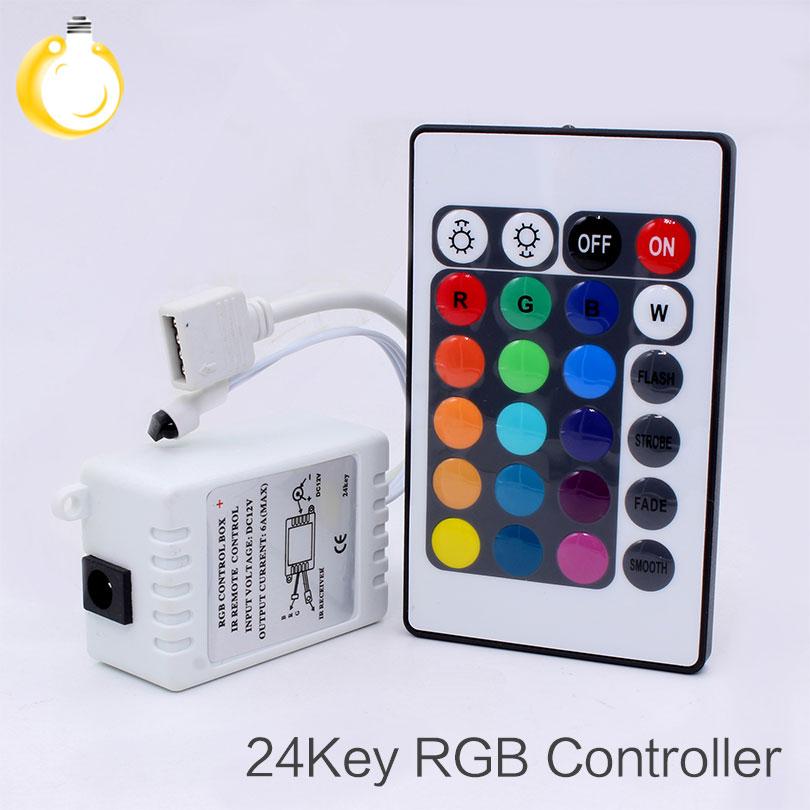 24Keys LED RGB Controller DC12V IR Remote Controller For SMD 3528 5050 RGB LED Strip Lights