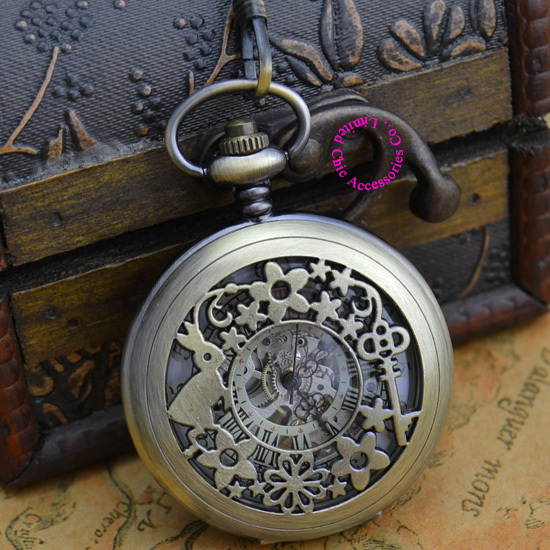 wholesale price good quality antique classical rabbit and key flower man s mechanical pocket watch necklace