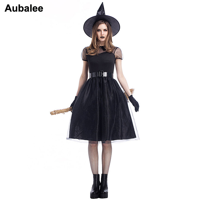 Black Witch Costume Adult Women Magic Moment Sorceress Sexy Witch Halloween Costume Carnival Party Ghost Fancy Crape Dress