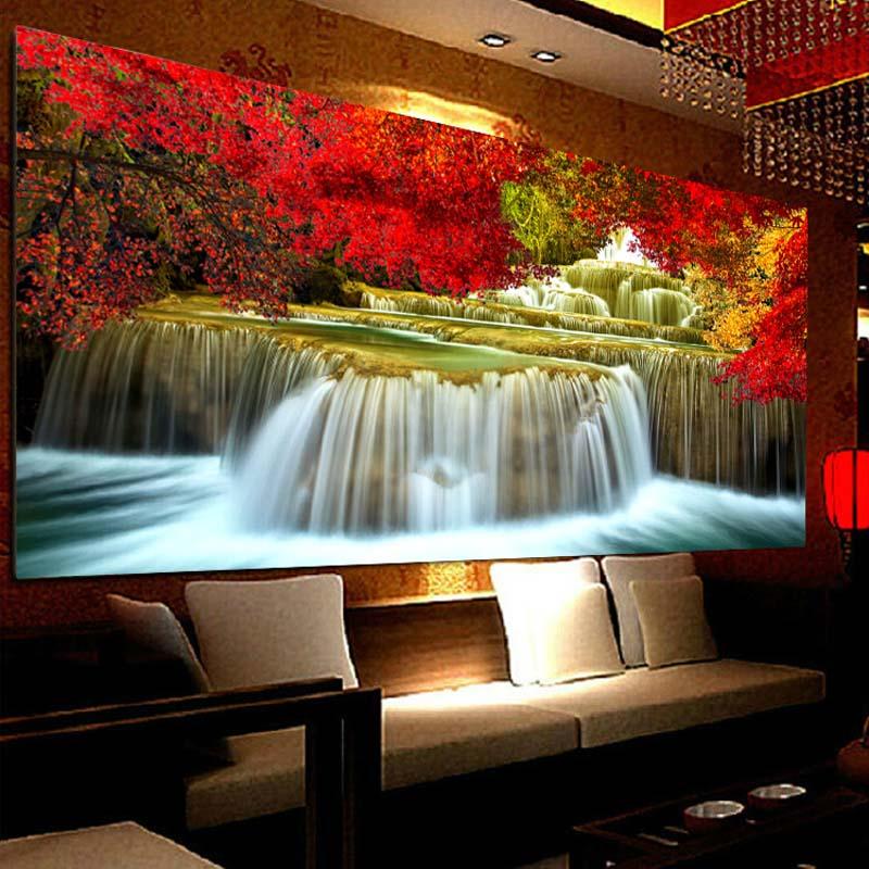 Huacan Diamond Painting Waterfall Full Square 5D DIY Diamond Embroidery Landscape Beadwork Diamond Mosaic Scenery