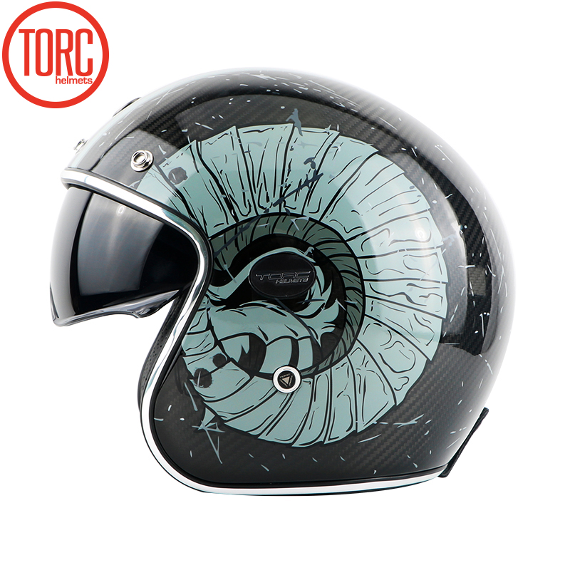 TORC koolstofvezel motorhelm vintage open helm vespa motorbike - Motoraccessoires en onderdelen - Foto 4