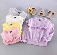 New Spring Summer Girls Hollow Knitted Cardigan Kids Lace Wood Ears Thin Sweaters Coat High Quality