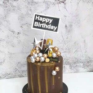 Image 2 - Bandeira para decoração de bolos dourados, faça você mesmo, balões de espuma dourada/prateada para bolo, feliz aniversário, cupcake, top, bandeira de festa de casamento, decoração de bolo