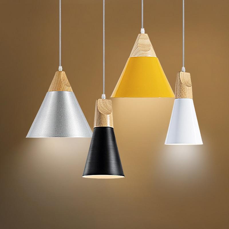 ФОТО Fashion Slope Wood Pendant Lights Aluminum Restaurant Bar Coffee Dining Room LED Hanging Light Fixture