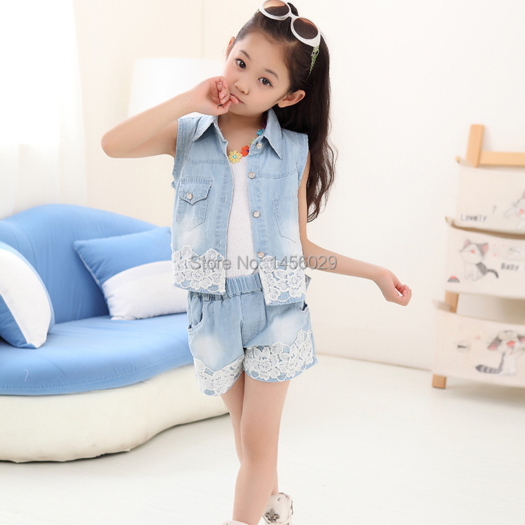 41ca25961 Retail 2015 New style Girls blouse Shorts Summer set Cute girls clothing  Denim garment for 4-14 years girls NZF2015D hot sales