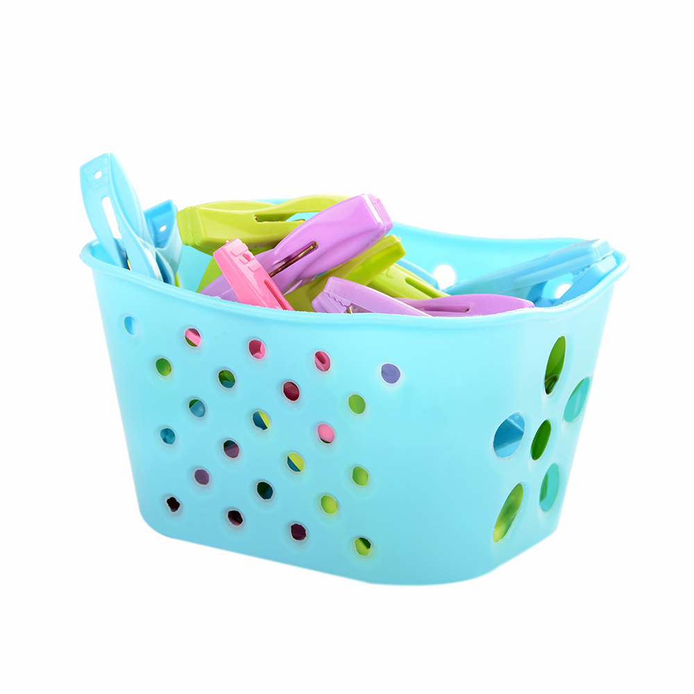 us $3.9 6% off|1x storage basket + 30pcs clothes pins set clothespin  laundry clothes pin large spring with basket convenient plastic 30pcs-in  storage