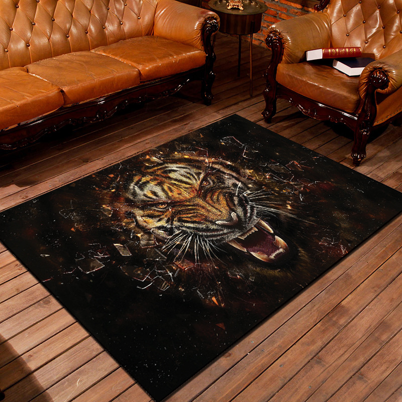 3D Tiger Printed Carpet For Living Room and Coffee Table