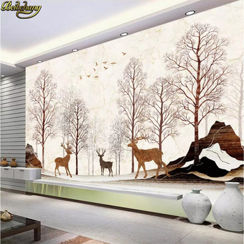 beibehang custom Nordic Marbled Elk Forest Photo Wallpaper 3D Living Room Sofa Bedroom TV Background flooring Mural Wall paper цена 2017