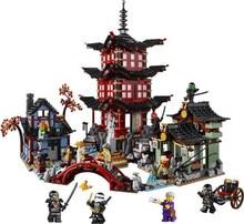 2016 06022 2150Pcs Ninja Temple of Airjitzu Model Building Kits Minifigure Blocks Jay Kai Cole Bricks Toy Compatible Legoe