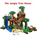 Lepin mi mundo minecraft la selva árbol casa de anime figuras de acción building blocks ladrillos juguetes para niños compatibles 21125