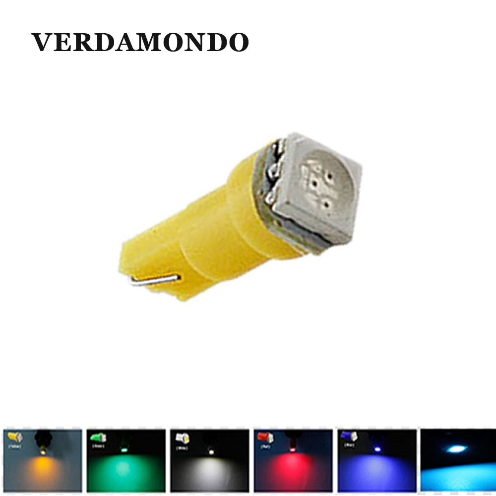 Car Instrument LED Light T5 5050 1 SMD Wedge Bulb Interior Dashboard Gauge  Lamps White Green Ice Blue Red Yellow DC 12V