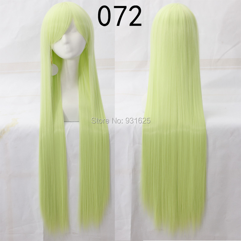 80cm 100cm Amazing Pretty Light Green Harajuku Anime Cosplay Wigs Long Straight Synthetic Hair Wig Bangs Costume Party