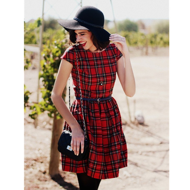 30- summer women robe vintage 50s classical tartan dress in red retro  rockabilly casual dresses plus size vestidos pinup jurken af08df8db6a0