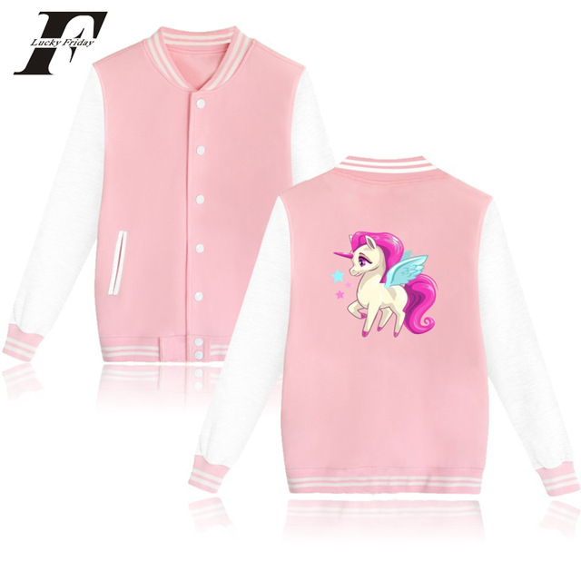 52697278303b6 2017 harajuku kawaii Unicorn Printed Hoodie baseball jacket bomber jacket Women  men Pink button Moletom casaco feminino 4xl