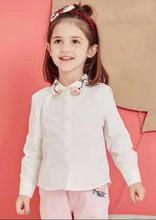 New 4 styles Girls lapel Embroidery flower long sleeve shirt wholesale 2017