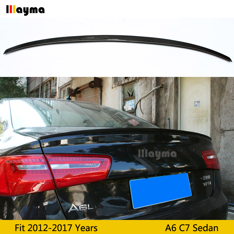 S6 style Carbon fiber rear trunk spoiler For Audi A6 C7 Sedan 2012-2017 year Car spoiler Wing (Not fit Sline s6 rs6) image