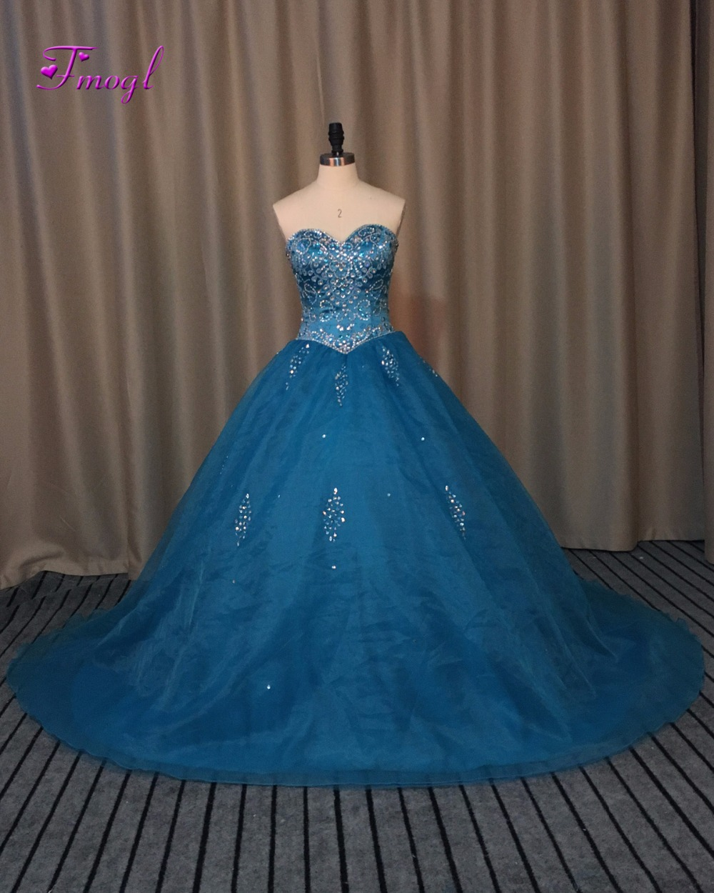 82efe8b10b7 Fmogl Luxury Beaded Crystal Princess Quinceanera Dresses 2019 Graceful  Organza Royal Blue Ball Gown Debutante Dress For 15 anos-in Quinceanera  Dresses from ...
