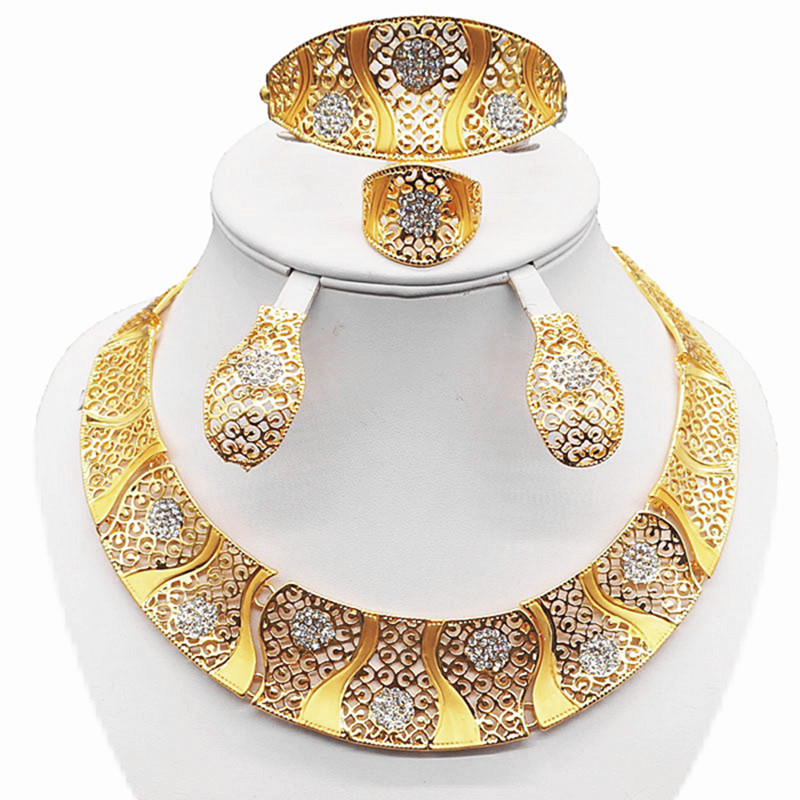 nový design šperky sady zlaté barvy jemné šperky sady velké šperky sady svatební náhrdelník šperky sady náušnice, velký náhrdelník