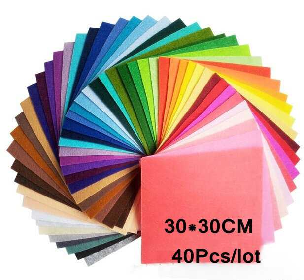 Lowest price Mix color 100% Polyester Nonwoven Felt Fabric DIY Felt Fabric Pack 1MM Thick 40PCS/lot 30CM*30CM